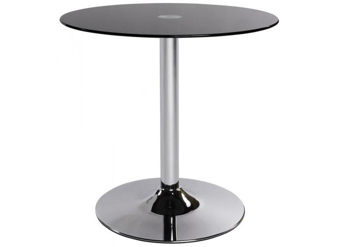 Foot - Sofabord med sort glastop, kromfod